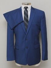 NWT Mens 44R Calvin Klein 2 Piece Blue 100% Wool Suit