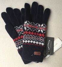 NEW Fat Face Men's Gloves Navy Christmas Wool Content