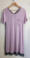 Cuddl Duds Short Sleeve Printed Nightgown, Size S, Pink / Grey, NEW