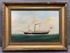Antique Seascape Old Eagle Packet Side Wheel SteamShip Paddle Steamer Painting