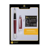 Cross Bailey Red Lacquer Fountain Pen with 6 extra Cartridge-AT0456F-8MS/17