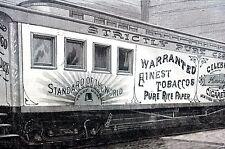 Kinney Tobacco Company Train 1887 RAILROAD PURE CIGARETTES  Antique Matted Print