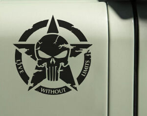 Punisher Army Star Decal Sticker 20cm Live Without limits Jeep Door Hood Window