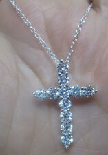 Sterling Silver Cross with 11 Clear Crystals