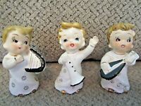 Vintage set 3 Japan labeled musicians playing instruments figurines collectibles