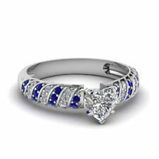 1ct Heart Cut Diamond Blue Accent Solitaire Engagement Ring 14k White Gold Over