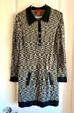MISSONI Target Sweater Knit Dress Heathered Black Gray Long Sleeve Collar S  EUC