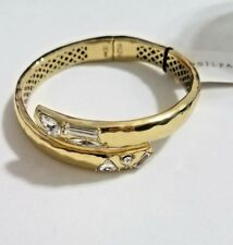 Silpada Cobra Brass Gold Hinge Cuff Bangle Bracelet KRB0077 Swarovski Crystals