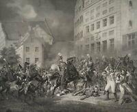 Schlachtenszene, Militär, 19. Jahrhundert, Original-Lithographie