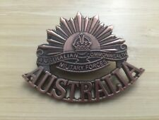 ANZAC RISING SUN WW1 & WW2 COMMEMORATIVE UNIFORM HAT CAP BADGE MEDAL