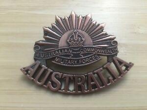 ANZAC RISING SUN WW1 & WW2 COMMEMORATIVE UNIFORM HAT CAP BADGE MEDAL