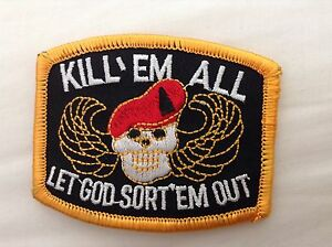 KILL EM ALL embroidered iron or sew on patch biker goth punk metal motif