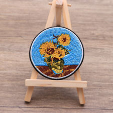 Sunflower painting iron on patch Flower Art Vincent van Gogh embroidery patches