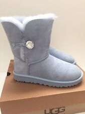 UGG Bailey Button Bling Swarovski Baby Blue Suede Boots US 7 Womens $220 Retail