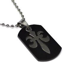 FLEUR DE LYS Kette schwarz Edelstahl Anhänger Die heraldische königliche Lilie