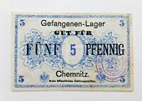 GEFANGENEN-LAGER CHEMNITZ NOTGELD 5 PFENNIG EMERGENCY MONEY GERMANY (13419)