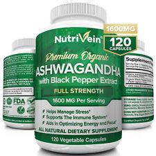 Nutrivein Organic Ashwagandha Capsules 1600mg - 120 Vegan Pills - Stress Support