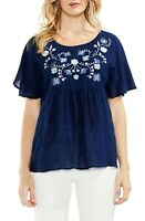 VINCE CAMUTO Womens Embroidered Flutter Sleeve Blouse Navy Blue Size XS $99 -NWT
