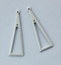 VINTAGE WHITE ENAMEL TRIANGLE METAL EARRING PENDANT BAIL • 40mm