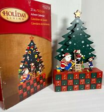 "Santa Elves Workshop Christmas Tree Advent Calendar 21"" Wooden ~ Complete w/Box"