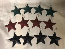 "Set of 12 primitive 4"" metal rustic barn stars ornaments- Country Decor"