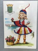 Vintage 3D Postcard SILK Embroidered PORTUGAL Girl Traditional Dress, Unused