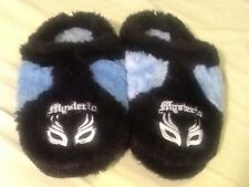 WWE REY MYSTERIO LOT BLUE KIDS SLIPPERS XL fuzzy soft and 3 hour Rey 619 DVD