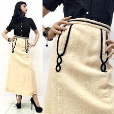 REAL Vintage 50s Pin Up Rockabilly VLV Skirt Ivory Roped POCKETS Long 60s XS/S