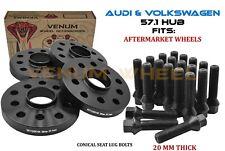 4pc 20MM Hubcentric Wheel Spacer Kit Fits 2000-2018 Audi TT Volkswagen GTI Golf