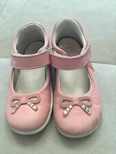 Primigi Girls Shoes Size 22 Or 6 US Pink Silver Bow Soft Flexible Leather