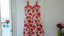 NEW Vintage inspired orange Poppy dress, size 12-14