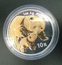 2004 Chinese Panda 1oz Silver Bullion & 24 Carat Gold Plated 10 Yuan
