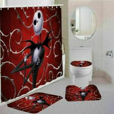 The Nightmare Before Christmas Bathroom Rug 4PCS Shower Curtain Toilet Lid Cover