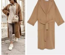 Zara Wool Coat Camel Beige Tan  Small Bnwt A/w 2019 Handmade Belted Patch Pocket