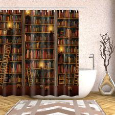 72 in Bathroom Shower Curtain Decor Set Bookshelf Design Bath Curtains 12 Hooks