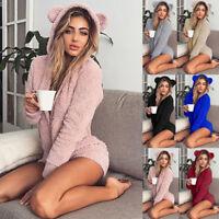 Womens Winter Fluffy Fleece Hooded Rompers Long Sleeve Jumpsuit Bodysuit Pants