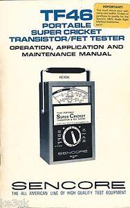 Sencore TF-46 Cricket Schematic, Operation and Maintenance Manual * CDROM * PDF