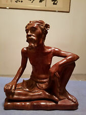 Very Beautiful and Detailed Chinese Hand Carved  Wood Old Man Statue.