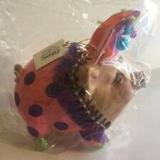 Katherine's Collection Retired Large Party Pig Piggy Bank Ornament Pink