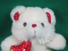 WALMART ROSE CANDY HEART WHITE POLKADOT TEDDY BEAR FUZZY SOFT VALENTINES PLUSH