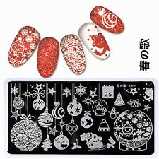 Nail Art Stamp Template Christmas Image Plate 12*6cm Rectangle Stencil L001