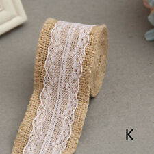 Wedding Party Decor Rustic Vintage Lace Edged Jute Hessian Burlap Ribbon Roll