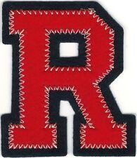 "2 1/4"" x 2 1/2"" Red Black Dark Navy Blue Block Letterman's Letter R Felt Patch"