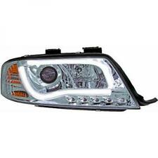 LHD Projector Headlights Pair LED DRL Clear Chrome For Audi A6 Typ 4B 97-01
