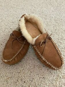L.L. Bean Men's Brown Leather wicked good shearling Moccasin size 13 Nice!