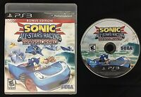 Sonic & All-Stars Racing Transformed Bonus Edition Sony PlayStation 3 ps3 TESTED