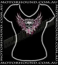 BN LETHAL ANGEL V-NECKLINE FLYING SKULL DEMONIA GOTHIC T-SHIRT TOP 8 10 14 16