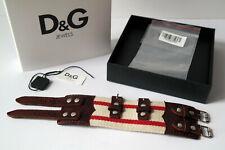 D&G Dolce&Gabbana Armband unisex ROUGH DJ0725 Leder Stoff weiß rot Etikett