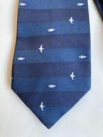 Salvatore Ferragamo Navy Wide Stripe Tie with Fish And Seagulls. Silk
