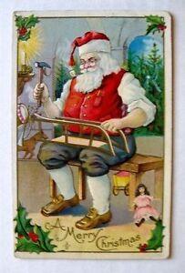 1910-20s Christmas Postcard of Santa Working in His Workshop